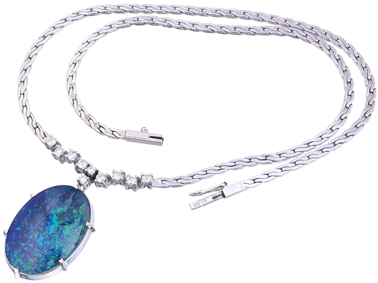 Collier Opal Diamonds 14 Karat White Gold