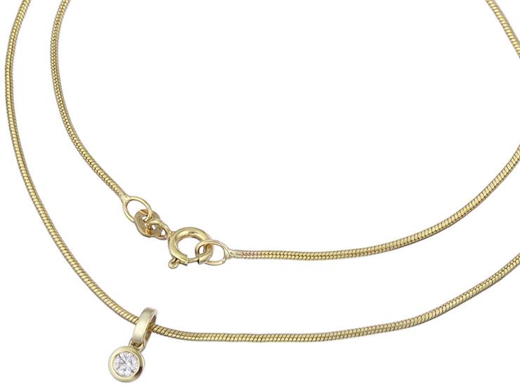 Snake Chain with Diamond Pendant 14 Karat Yellow Gold