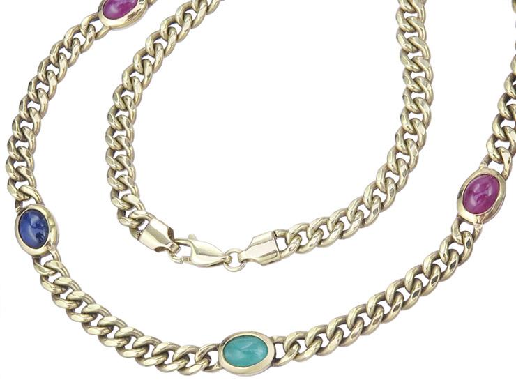 Collier Emerald Rubies Sapphires 14 Karat Yellow Gold