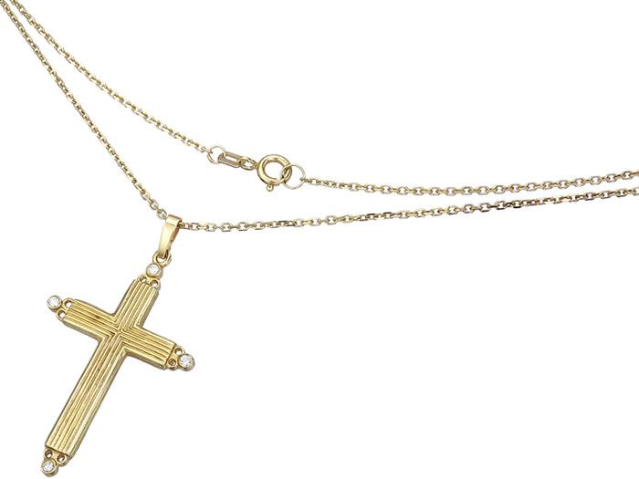 Kette mit Kreuz Anhänger Brillanten 585er Gelbgold