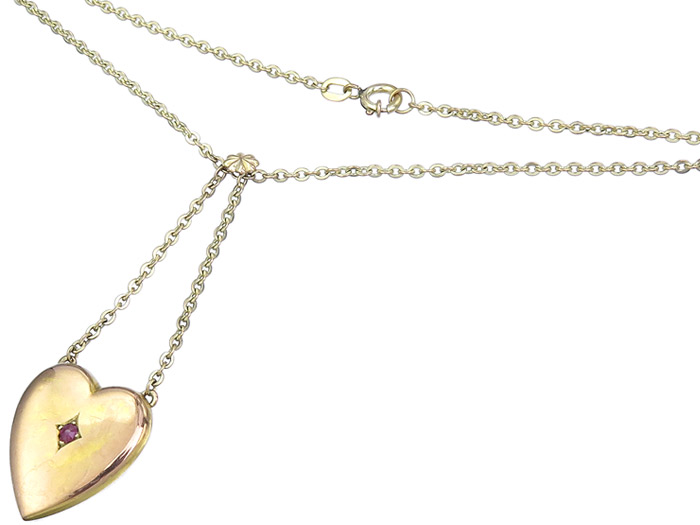 Necklace with Heart Pendant Colored Stone 8 Karat Yellow Gold