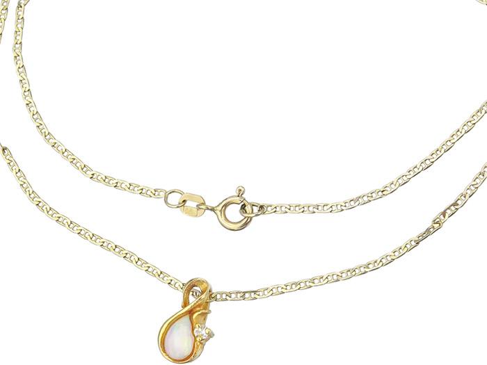 Kette mit Anhänger Opal Brillant 585er Gelbgold