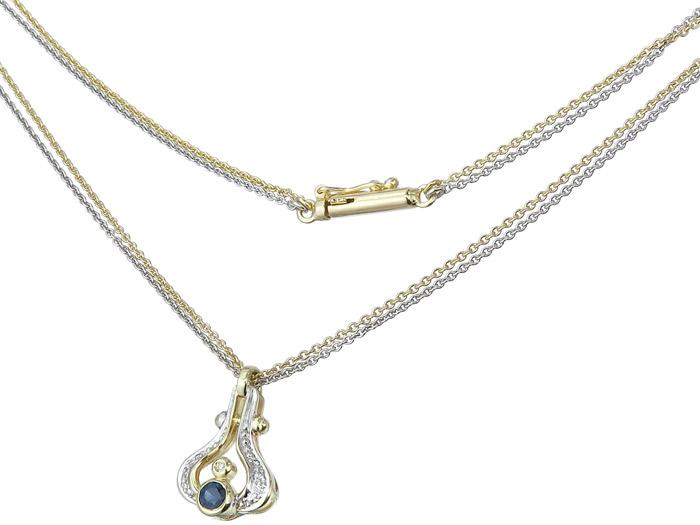 Necklace with Pendant Sapphir Diamonds Gold Bicolor