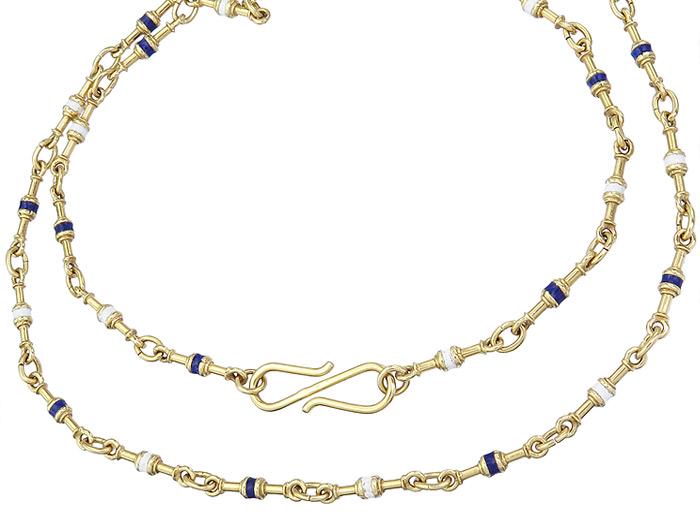 Necklace Enamel 18 Karat Yellow Gold