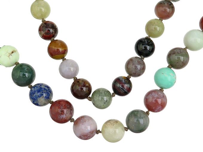 Necklace Endless Gemstones Quartz Spheres Multicolor