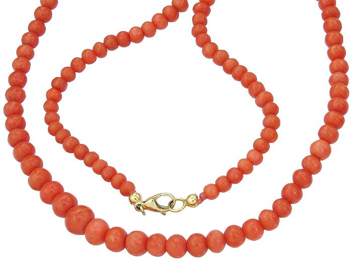 Korallen Kette 585er Gelbgold