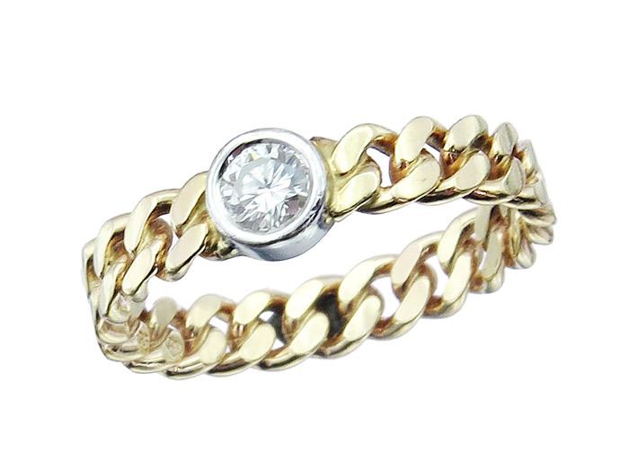 Ring Brillant Solitär Kettenring 585er Gold Zweifarbig