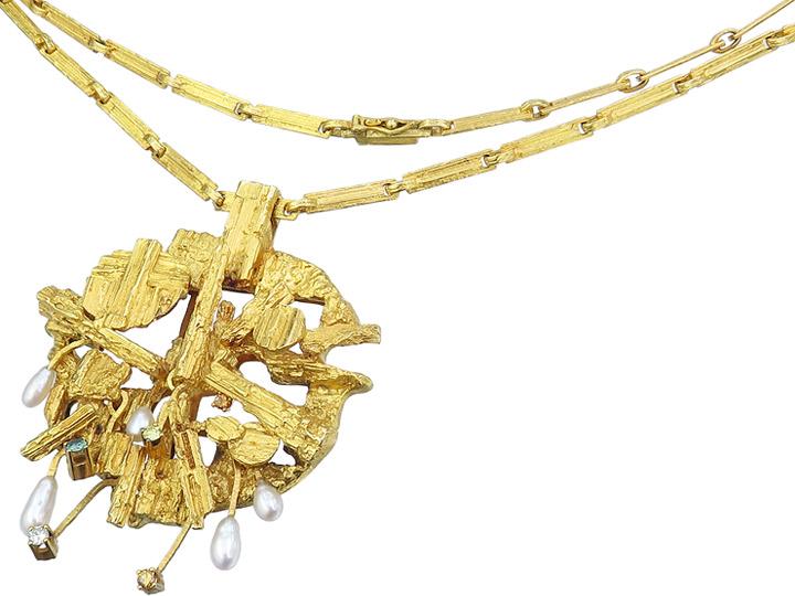 Lapponia Collier Farbige Diamanten Perlen 750er Gelbgold 1978 und 1977
