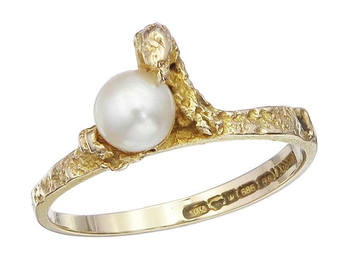 Lapponia Ring Perle 585er Gelbgold ca. 1979