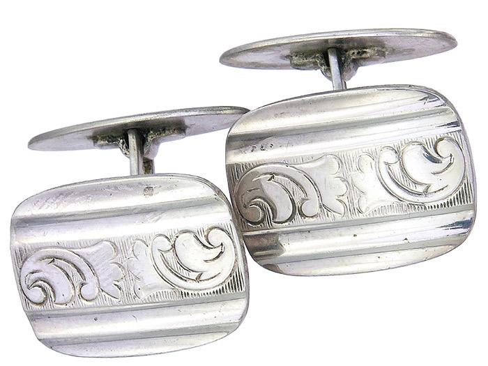 Manschettenknöpfe 835er Silber Art Deco um 1920