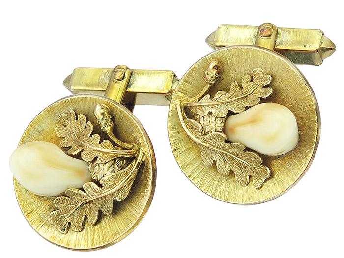Manschettenknöpfe Grandeln Eichenlaub 585er Gelbgold