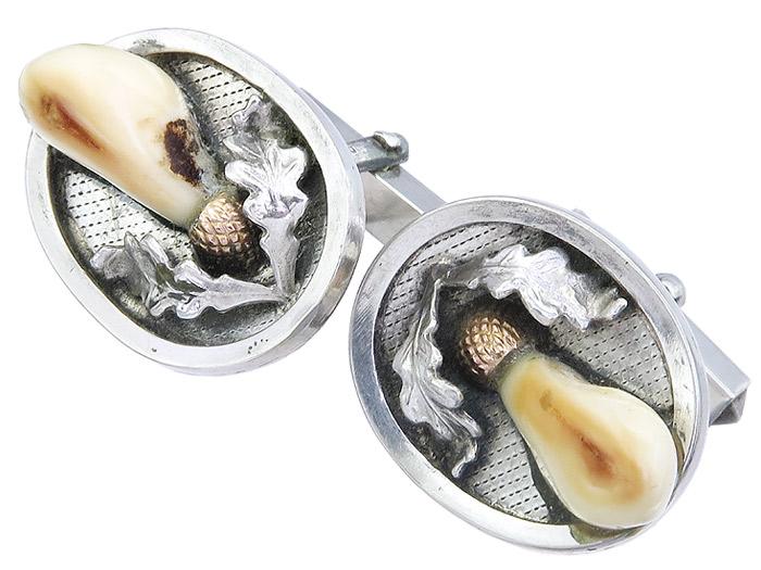 Manschettenknöpfe Grandeln Eichenlaub 800er Silber