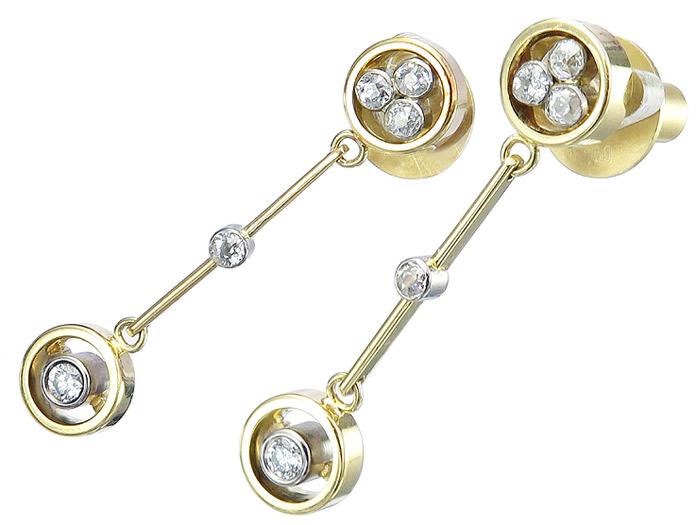 Ohrringe Brillanten und Altschliff Diamanten 750er Gold Zweifarbig
