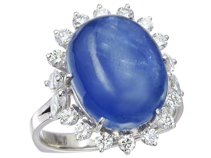 Ring OEDING-ERDEL VSaphir Cabochon Diamonds 18 Karat White Gold Certificate Box