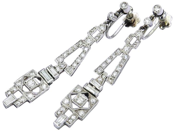 Ohrhänger Diamanten Drehverschlüsse 950er Platin Art Deco ca. 1920-30
