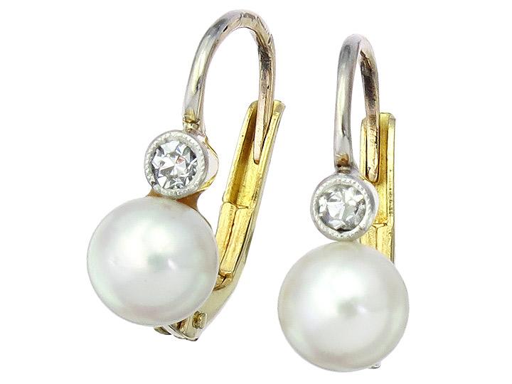 Ohrhänger Perle Diamant 585er Gelbgold