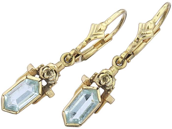 Ohrhänger Blauer Schmuckstein 585er Gelbgold Antik