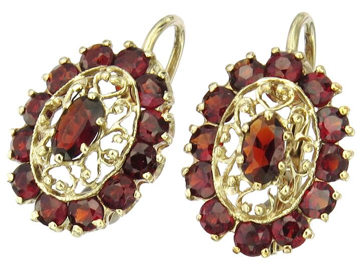 Ohrhänger Granate 333er Gelbgold