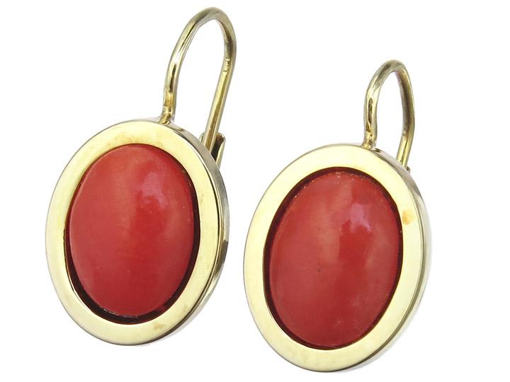 Ohrhänger Koralle 585er Gelbgold