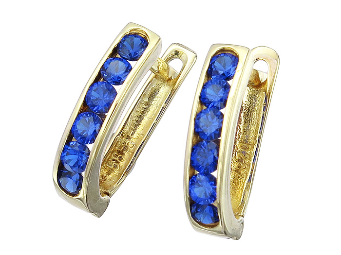 Earrings Royal Blue Colored Stones 14 Karat Yellow Gold