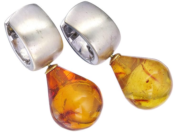 Hoop Earrings Amber 18 Karat White Gold