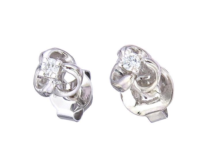 Earrings Diamond 14 Karat White Gold