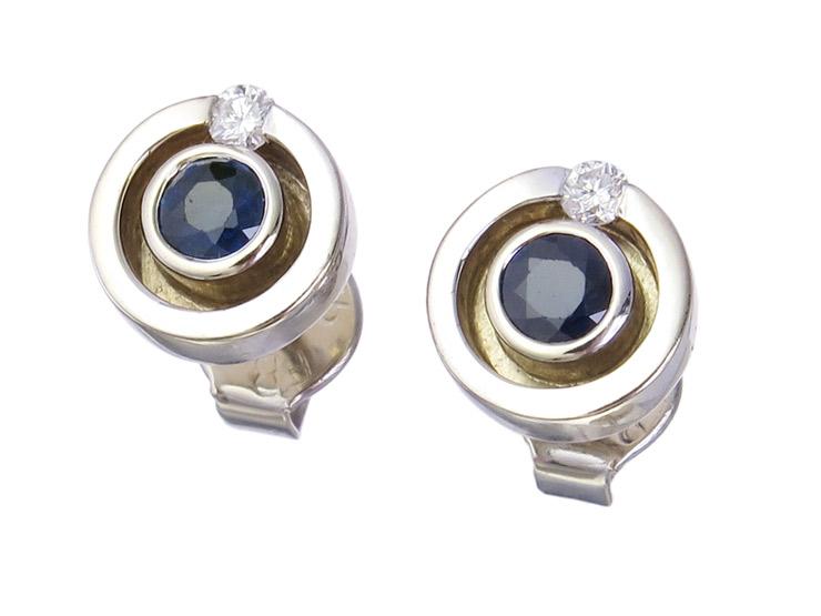 Earrings Sapphire Diamond 14 Karat White Gold