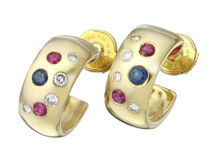 Hoop Earrings Diamonds Colored Stones 18 Karat Yellow Gold