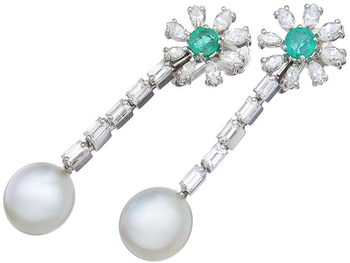Ohrringe Südseeperle Diamanten Smaragd 750er Weissgold