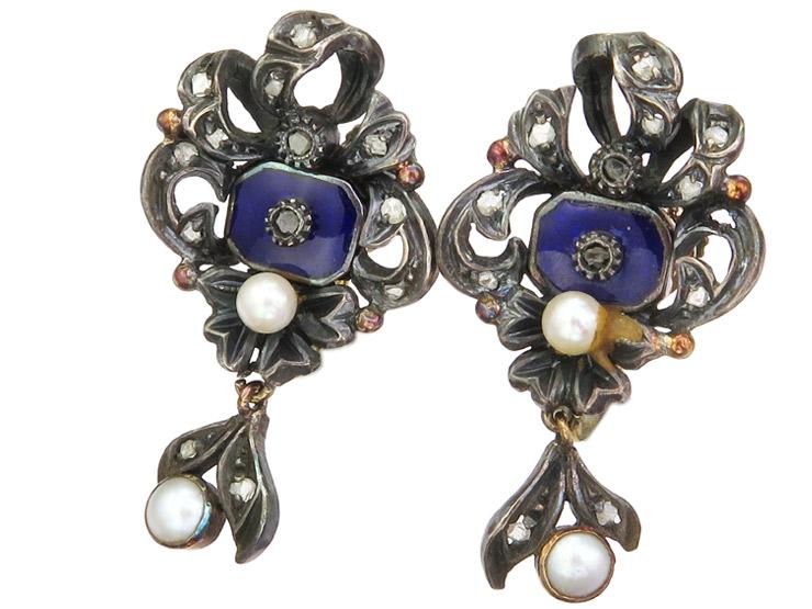 Ohrringe Diamanten Perlchen Emaille Gold Silber Antik ca. 1880-1890
