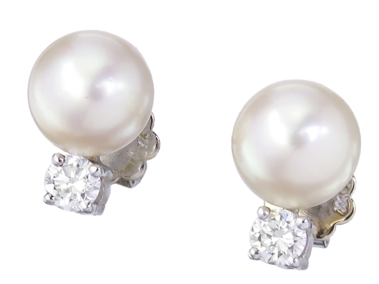 Earrings Pearl Diamond 14 Karat White Gold Certificate