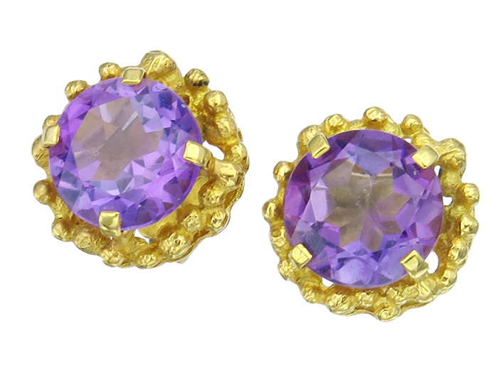 Earrings Amethyst 14 Karat Yellow Gold