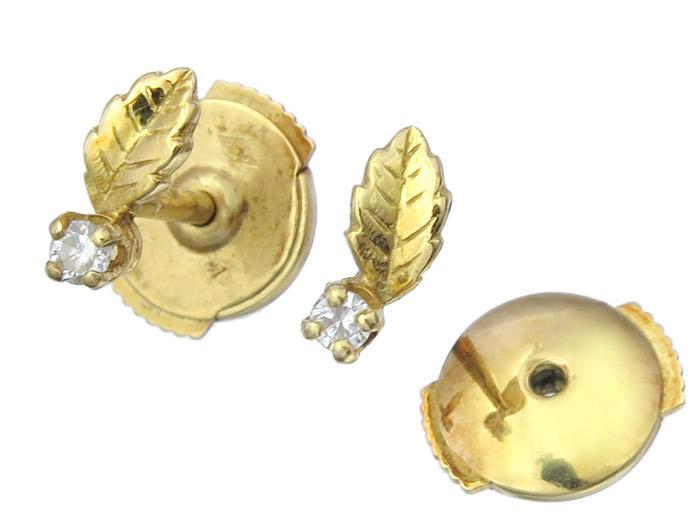 Ohrstecker Blatt Brillant 750er Gelbgold