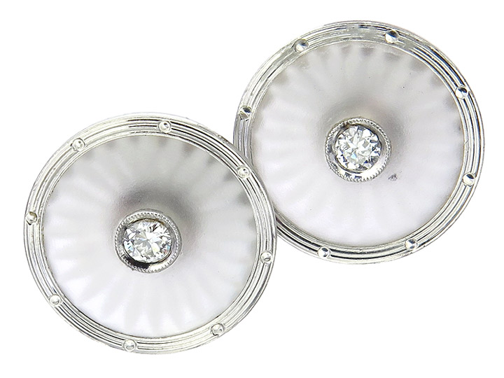Earrings Glass Diamond Platinum and White Gold