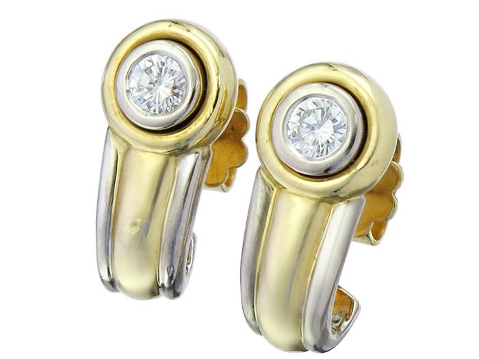Halbcreolen Brillant 750er Gold Zweifarbig