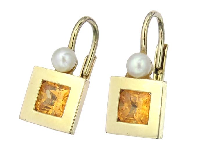 Ohrhänger Farbstein Perlchen 585er Gelbgold
