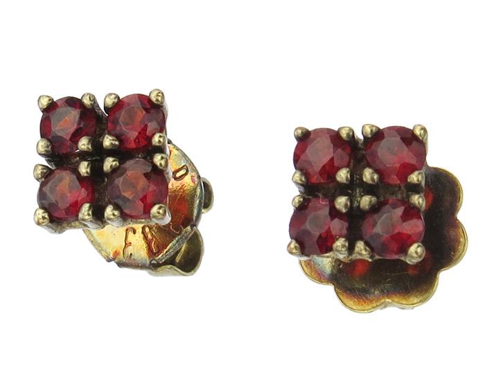 Earrings Granets 8 Karat Yellow Gold