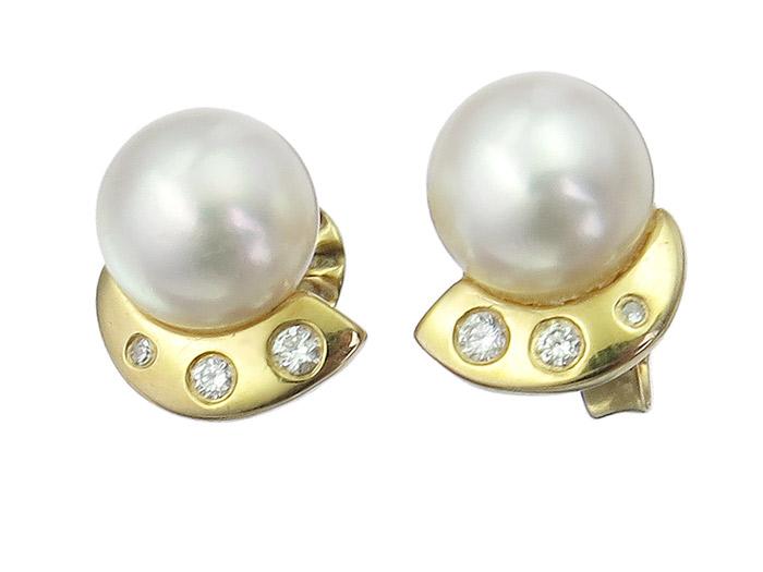 Ohrstecker Perle Brillanten 585er Gelbgold