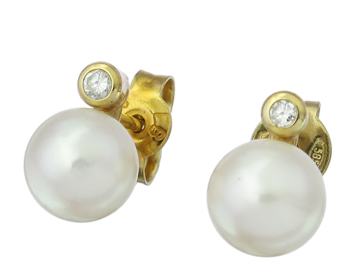 Earrings Pearl Diamond 14 Karat Yellow Gold