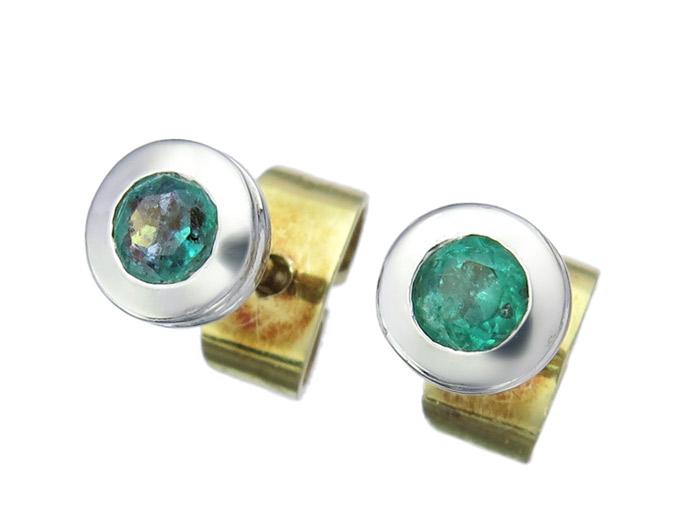 Ohrstecker Smaragd 585er Gold Bicolor