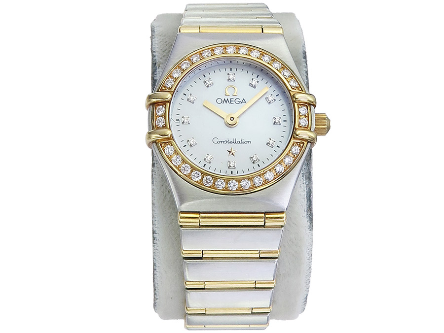 Omega Constellation Lady Stahl Gold Perlmuttblatt Diamanten