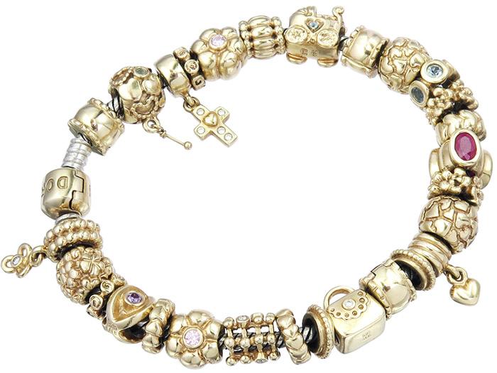 Pandora Charm Bracelet 14 Karat Yellow Gold 925 Silver