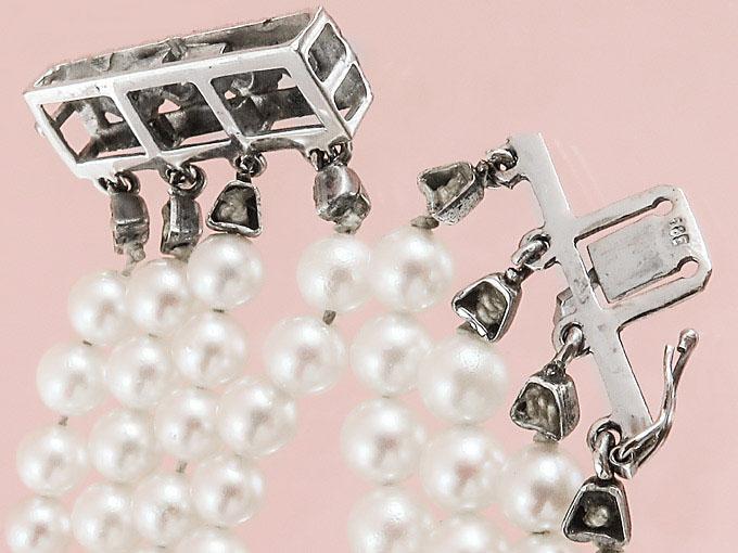 Perlenarmband Vier Reihig Saphire 585er Weißgold 835 Silber