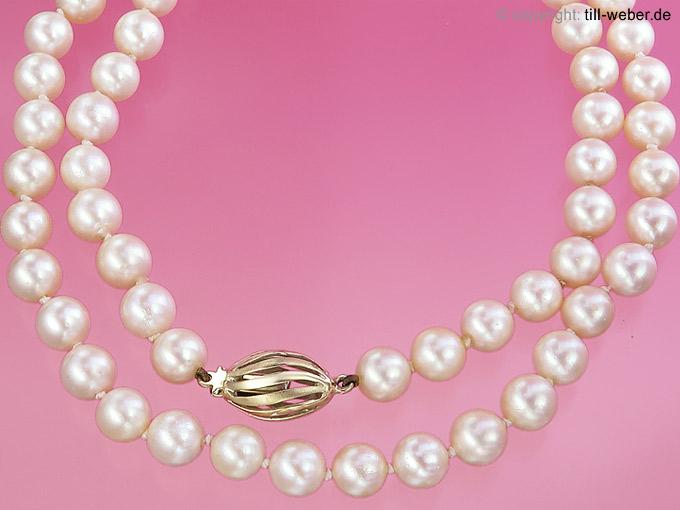 """Perlenkette """"Einreihig"""" Gelbgold"""