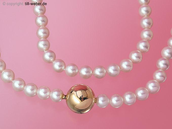 """Perlenkette """"Patenschließe"""" Gelbgold"""