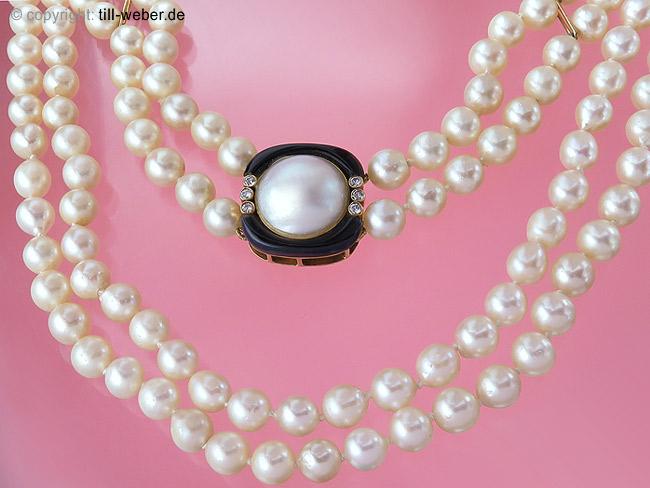 "Perlenkette ""Brillanten"" Mabe Perle Gold"