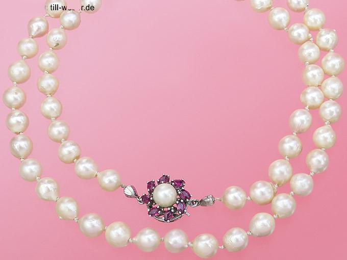 """Perlenkette """"Rubine"""" 585er Weißgold"""