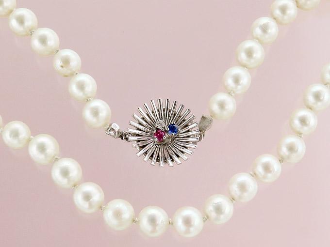 Perlenkette Rubin Saphir Besatzdiamant 585 Weißgold