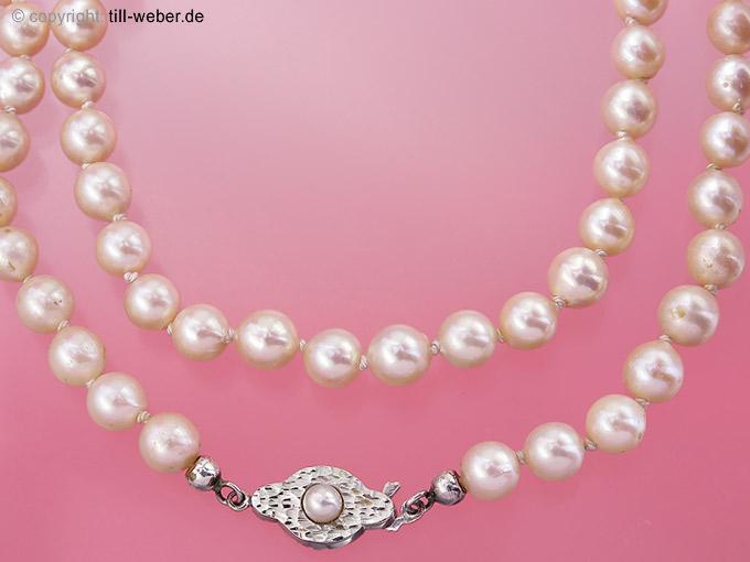 """Perlenkette """"Weissgold"""""""