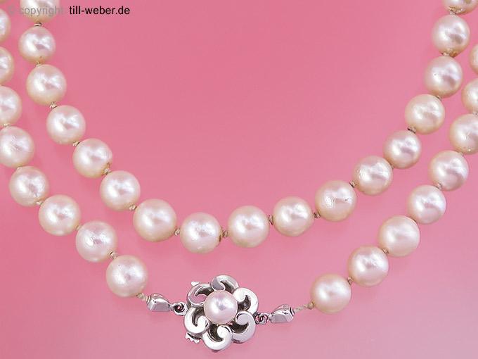 """Perlenkette """"Weißgold"""""""